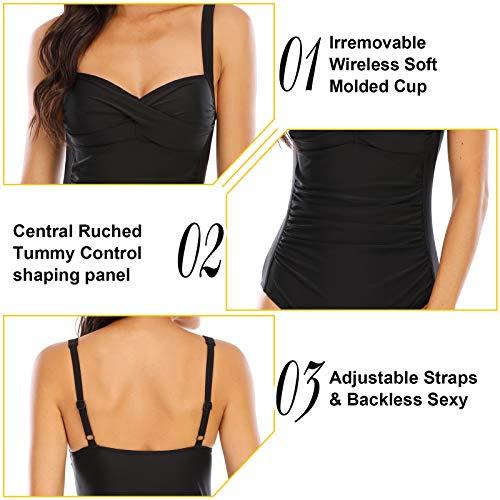 WIN.MAX Traje de baño Acolchado para Reducir Barriga, Traje de baño de Talla Grande para Mujeres Monokinis Vintage Push up (Negro, EU42)