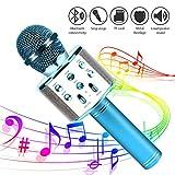 Micrófono de karaoke para niños, Vivibel inalámbrico Bluetooth micrófono con altavoz para voz, ideal para fiestas en el hogar, Navidad, cumpleaños, con Android, iOS, PC y aplicación compatible