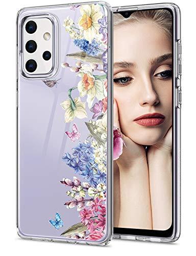 Compatible con Samsung Galaxy A32 5G, funda transparente con diseño de mármol y flores, funda de silicona 5G, antigolpes, antiarañazos, funda transparente