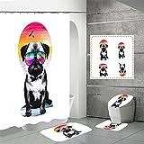 SUUZQK Cortina De Ducha De Impresión Digital De Poliéster 3D Impermeable Animal Perro Inodoro Partición Cortina De Ducha Alfombra De Baño Juego De Cuatro Piezas 150x180cm(WxH) M