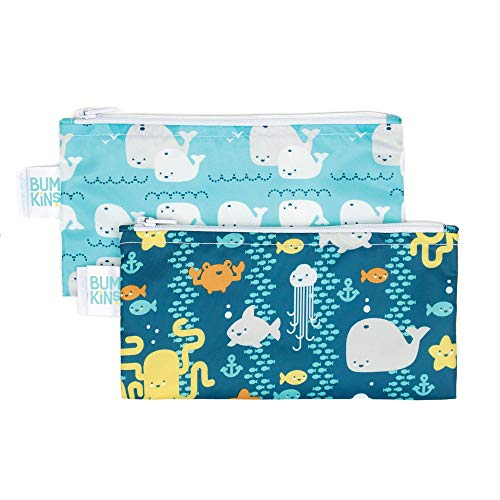 Bumkins Snack Bags Reusable Washable Food Safe BPA Free 2Pack – Sea Friends amp Whales Away