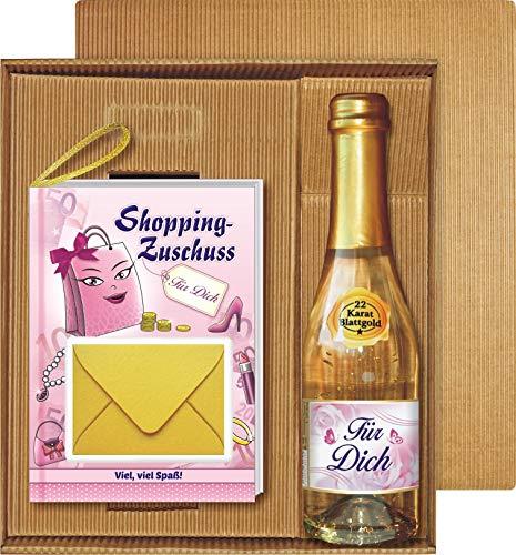 Geldgeschenk Buch Shopping Zuschuss mit 22 Karat Blattgold Gold Goldsekt Secco Piccolo im Geschenke Set Für Dich zum Geburtstag für Frauen Queen als Frauengeschenk (Shopping Zuschuss mit Piccolo)
