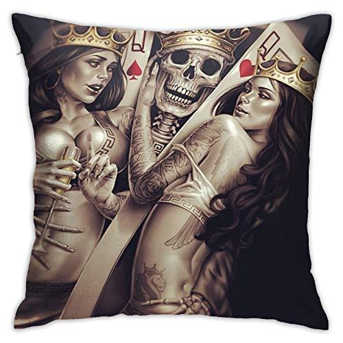 Federa per cuscino di tiro Poker Skull King Queen Federa decorativa 45cmx45cm Fodera per cuscino per divano letto