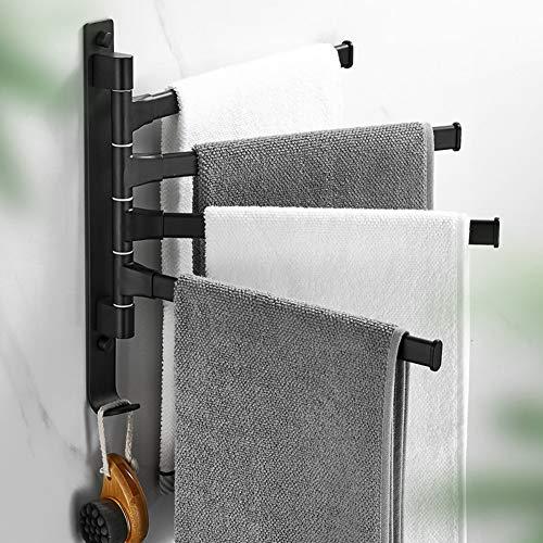 JRMM Toalleros de Baño - con 4 Postes para Baño, Toalleros Barra de Pared Giratorio 180 ° de Rotación, Porta Toallas Baño de 4 Niveles de Baño y Cocina