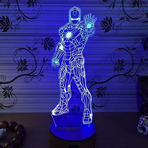 3D LED Illusion Lumière Iron Man Lumières Batman Lumières Miracle 7 Couleurs Télécommandé Dimensionnelle Lumière Optique Veilleuses Lampe de Table Ambiance Décoration Enfants Cadeaux D'anniversaire