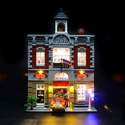 HLEZ USB Juego de Luces de para Brigada de Bomberos Modelo de Bloques de Construcción, Kit de Iluminación LED Compatible con Lego 10197 (Modelo Lego no Incluido)