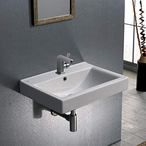 CeraStyle 064200-U-One Hole Mona Rectangular Ceramic Wall Mounted/Self Rimming Bathroom Sink, White