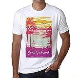 East Valencia, Escapar al paraíso, Camiseta para Las Hombres, Manga Corta, Cuello Redondo, Blanco
