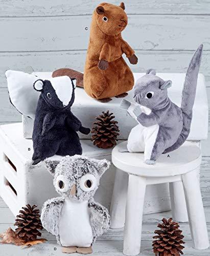 Simplicity Schnittmuster S8969 Eichhörnchen, Eule, Stink, Biber, Papier, Weiß, verschiedene Farben