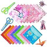 Jingying Set Carta da Origami,Doppia Faccia Colorata Origami,Fogli Carta per Decorazioni Artigianali,Carta da Bricolage Quadrata Origami, per Bambini Progetti Artistici e DIY Artigianato (Blu)
