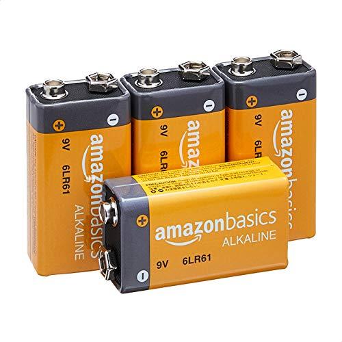 Amazon Basics 9 Volt Everyday Alkaline Battery - Pack of 4