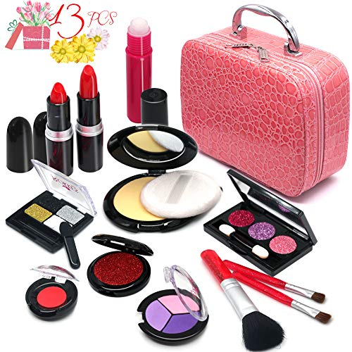 Pretend Makeup Girls Cosmetic Toys - Fake Make Up Kit Pretend Rubber Cosmetic Beauty Set for Kids Princess Play Game Christmas Birthday Gifts Toys for 2 3 4 5 6 Years Old Girls Gift