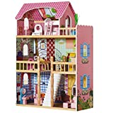Kid Dollhouse Large Doll House Children Wooden Dollhouse with 17 Pcs Furniture
