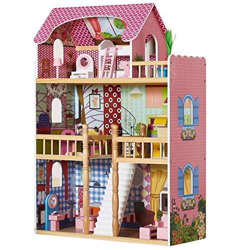HILIROOM Childrens Doll House, Wood Dolls Houses, Kids dolls house, Dollhouse Wooden, with 15+ Pieces Mini Furniture Accessories Sets for Girls Child (Solid Wood)