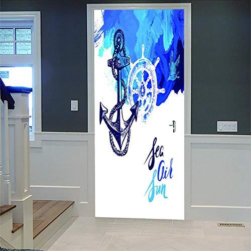 Pegatinas Para Puerta De Pared 3D Ancla Y Timón Adhesivo Para Puerta Con Efecto 3D,Diseño De Para Cocina,Salón,Dormitorio,Cuarto De Baño,Estilo De Papel Pintado Para Paredes Decoración