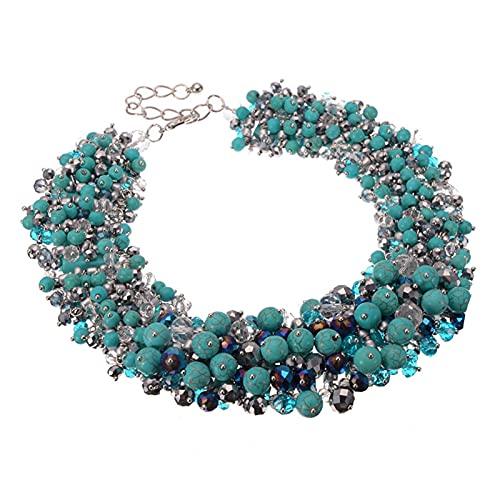 YFAM 3 Colores de la Cadena de joyería de Moda Rhinestone Collar de Cristal Collar Collar de Babero Collar Grande Accesorios Accesorios Ajuste para Regalos para Mujer (Metal Color : N0011533)