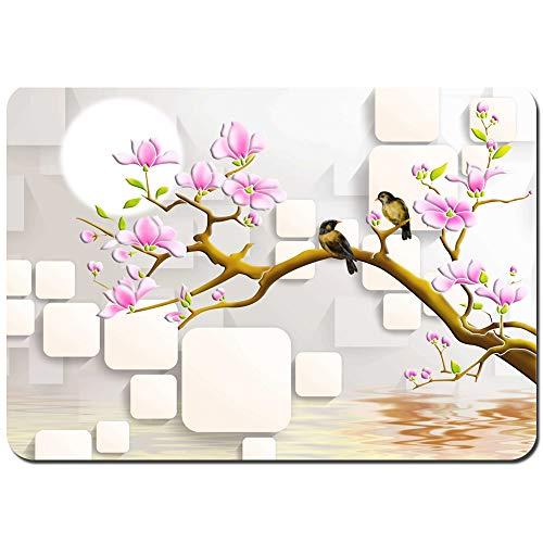 YANAIX Alfombra de Baño,Un par de pájaros se paran en una Rama Llena de Hermosas Flores,Súper Suave Multiuso Lavable a Máquina75x45cm