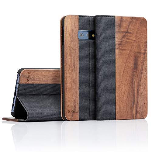 NALIA Echt-Holz Klapphülle kompatibel mit Samsung Galaxy S10e, Handmade Phone Hülle Handyhülle Natur-Holz Hülle Handy-Tasche Etui Flipcase, Dünnes Kunst-Leder Wood Book Cover Bumper, Farbe:Walnuss