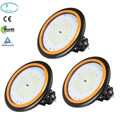 3×Anten UFO Projecteur LED 150W Industriel Phare de Travail de Super Luminosité 22000LM Spot High Bay Étanche IP65 Économique d'Électricité Lampe Extérieur Certification de CE TÜV (Blanc Neutre)