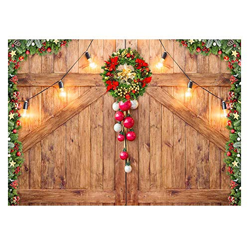 Funnytree 7x5ft Rustic Christmas Barn Door Backdrop for Photography Merry Xmas Wood Texture Board Wall Floor Party Background Holiday Baby Portrait Photobooth Banner Decorations Photo Studio Prop