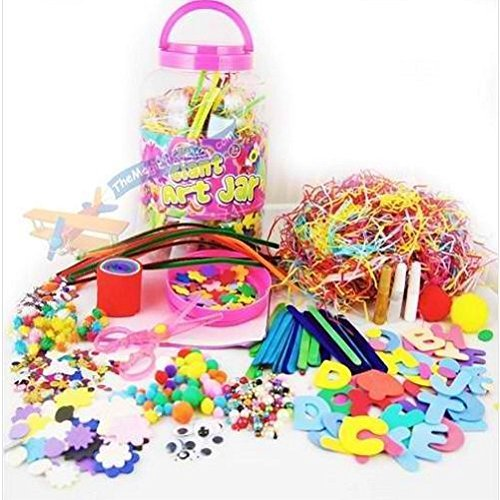 Mega Craft Jar Childrens Kids Giant Art Set Pom Poms Beads Paper Foam Letters