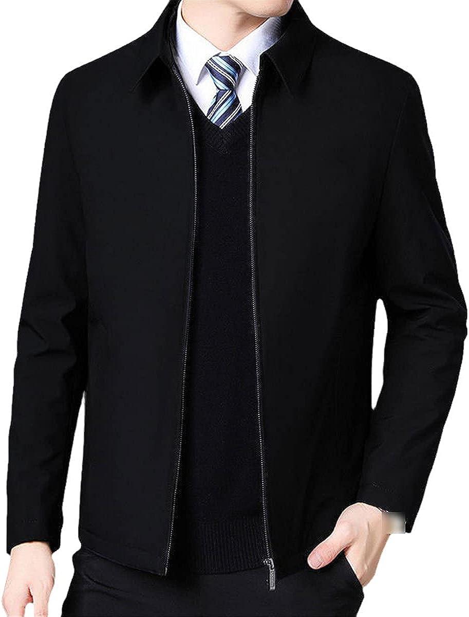 Men's Jacket Coat Lapel Collar Winter Jacket Zipper Side Pocket Men's Fashion Long Sleeve Jacket