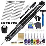 HAWINK Hand Poke and Stick Tattoo Kit DIY Tattoo Tool Kit Kit with 7 Ink 20 PCS Needles Aluminum Alloy Pen GK-HW801TN01-1