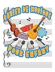 Cahier de Musique pour enfant: Carnet de partitions piano & solfège | portées avec grandes lignes pour l\'enseignement de la musique pour enfant | Format 21,5 x 27,9 cm - 110 pages