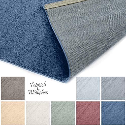 Designer-Teppich Pastell Kollektion | Flauschige Flachflor Teppiche fürs Wohnzimmer, Esszimmer, Schlafzimmer oder Kinderzimmer | Einfarbig, Schadstoffgeprüft (Royal Blau, 120 x 170 cm)