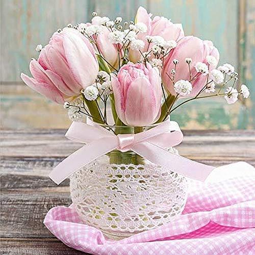 Serviettes 20 Pièce, Romantique Bouquet de Fleurs avec Rose Tulipes 33x33 CM