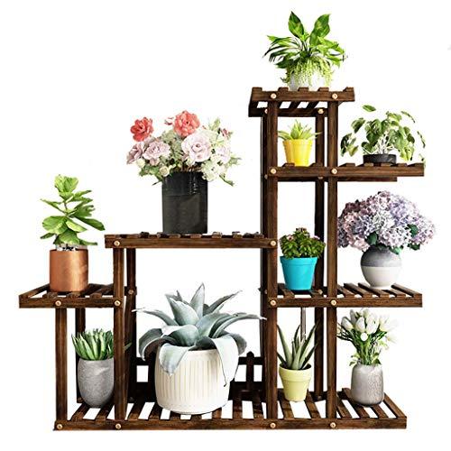 LWG-Stand Plant Holzwerk-Ausstellungsstand Mehrschichtige Bodenmehrzweckblumentopf-Standplatz in Schlafzimmer Balkon BüRo für Blumen Succulents Regal mit Leitschiene 4 Tier 3-Er Pack