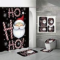 ラグ+ふたトイレカバー+バスマット+ポリエステル防水バスタブのカーテン、新年のバスルームの装飾90 * 180センチメートルサンタのクリスマスのシャワーカーテンセット4個、 Santa 2-90*180