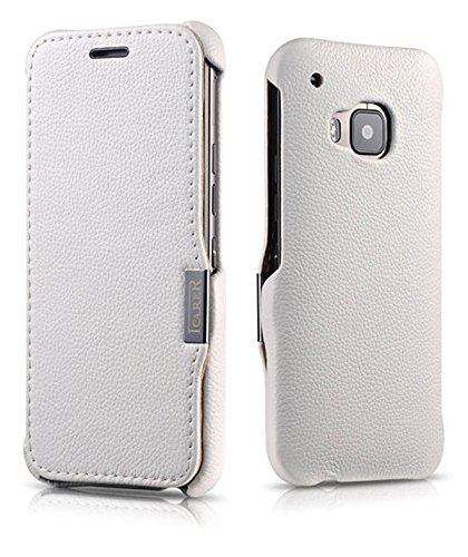 ICARER Tasche passend für HTC one M9, Hülle mit echtem Leder, Schutz-Hülle seitlich klappbar, Ultra-Slim Cover, dünne Handy-Hülle, Etui, Weiß
