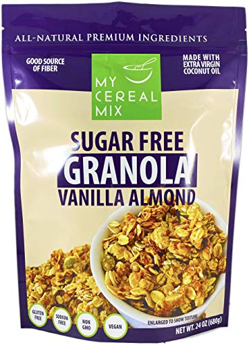 Sugar Free Granola - Vanilla Almond (Non-GMO, Gluten Free, Soy Free, Sodium Free, No Sugar Alcohols, All Natural Ingredients, Vegan)