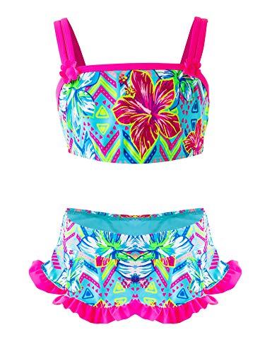 IKALI Mädchen Zweiteiler Badeanzug, Rüschen-Blumenbikini-Set, Strand Badeanzug, Sommer Bademode für Kinder, Blume, 6-7Jahre