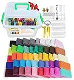 Genround Arcilla Polimérica, 50 Colores Horno Bake Modelado de arcilla Craft Segura y No Tóxica DIY Modelado Craft Set, 19 herramientas para esculpir y 25 Accesorios en la caja de Almacenamiento