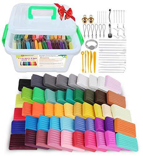 Polymer Clay, Genround 50 Farben x 20g Weichen Ton Knetmasse Ofen Backen Lehm Sicher Ungiftig Fimo Set mit 19 Ton Skulptur Werkzeuge 25 Clay-Modellierungswerkzeuge bestes Spielzeug Geschenk für Kinder