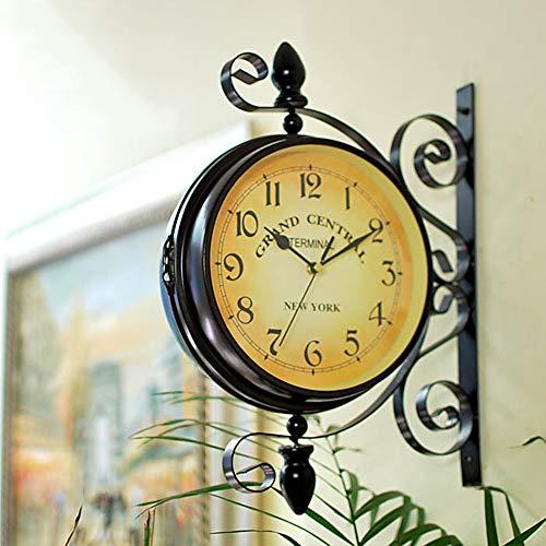 LCCYJ Doppelseitige Vintage Wanduhr Zweiseitige Bahnhofsuhr Retro mit Halterung Geeignet Indoor und Outdoor Home Garten Küche Wohnzimmer,01