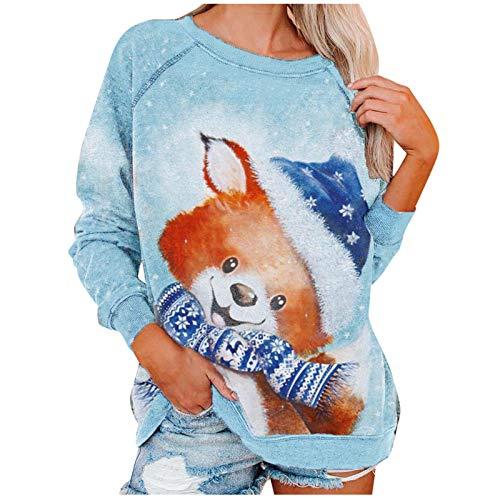 Your New Look Modische Damen O-Ausschnitt Weihnachten Niedlichen Druck LangäRmelige LäSsige Sweatshirt Tops Rundhalsausschnitt Sweater
