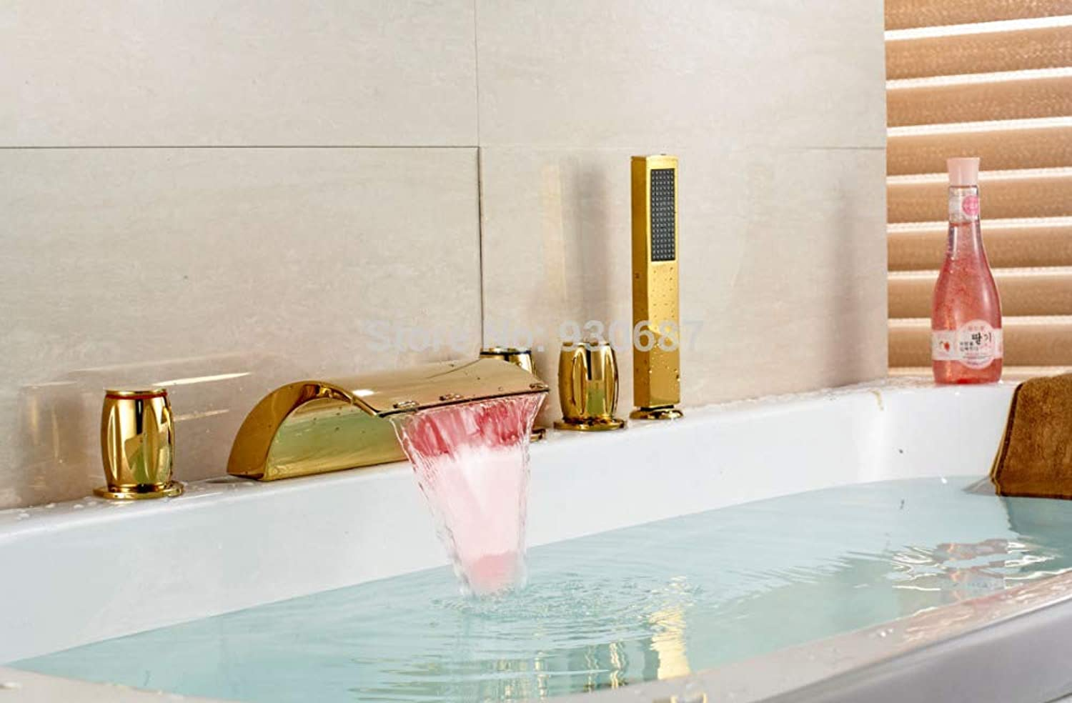 U-Enjoy Chandelier Plate Led gold Bathtub Three Top Quality Handles Faucet Centerset Mixer Tap New Free Shipping