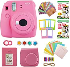 Fujifilm instax Mini 9 Instant Camera (Flamingo Pink) with 40 Twin Film Pack and 7-1 Accessory Bundle (4 Items)