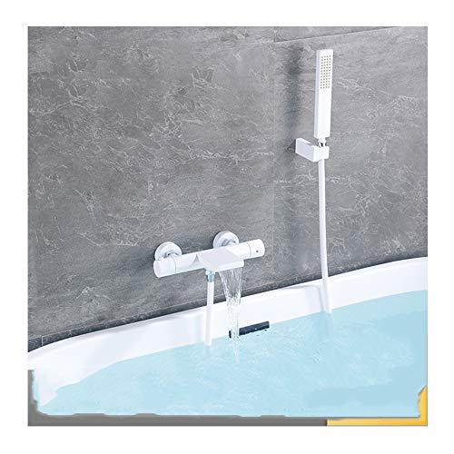TANGAN Termostática Blanco Grifo De Bañera con Ducha De Mano Cascada Grifo Baño Montaje En La Pared Baño Frío Y Caliente Mezclador Grifo