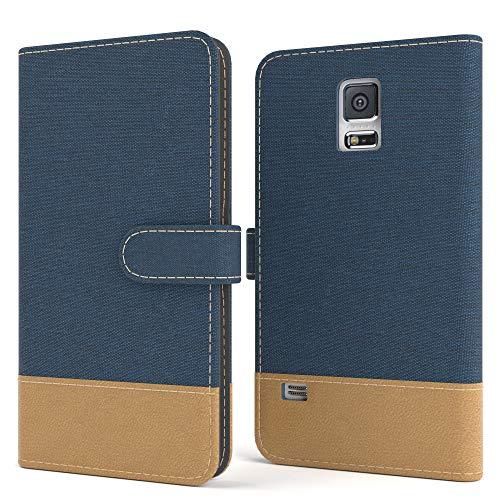 EAZY CASE Tasche kompatibel mit Samsung Galaxy S5/LTE+/Duos/Neo Stoff Schutzhülle mit Standfunktion Klapphülle Bookstyle, Handytasche Handyhülle, Magnetverschluss, Kartenfach, Kunstleder, Dunkelblau
