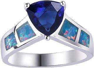 Anelli da donna KELITCH per ragazze Anello semplice opale bianco unisex D-6