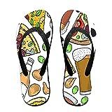 Sandalia fina unisex con chanclas,Fondo transparente de cerveza y pizza e, Yoga Mat chancletas de cuero cómodo Beach Tamaño de la correa con el peso ligero EVA Suela L