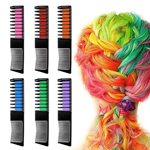 sokey 6 Stück Haarfarbe Kamm, Haarkreide für Mädchen, Temporär Haarfarbe Kreide Kamm Auswaschbar für Kinder Haarfärbemittel, Instant Haar Colorationen, Party und Cosplay DIY
