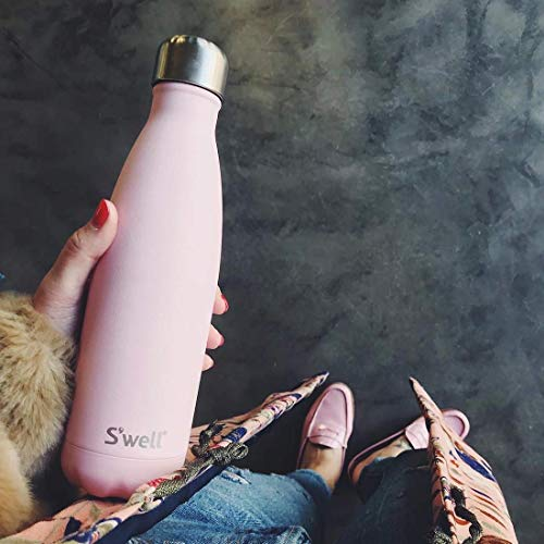 S'well Stainless Steel Water Bottle-17 Fl Oz-Pink Topaz-Triple-Layered Vacuum-Insulated Containers Keeps Drinks Cold for 36 Hours and Hot for 18-BPA-Free-Perfect for the Go, 17oz
