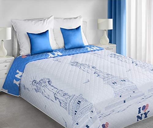 Eurofirany Tagesdecke Bettüberwurf Steppdecke New York Freiheitsstatue Überwurf Muster Hot Press Schlafzimmer Wohnzimmer Kinderzimmer Couchdecke Decke, Weiß + Blau, 170X210cm