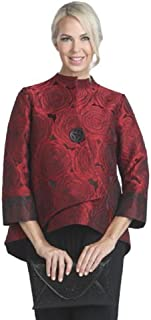 Jacquard Asymmetric Jacket in Red - 5145J