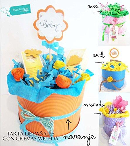 Tarta de Pañales DODOT con Cremas Weleda| Personalizable con Nombre del Bebé | Elige Tú el Color de la Tarta y la talla de los Pañales! | Baby Shower Gift Idea
